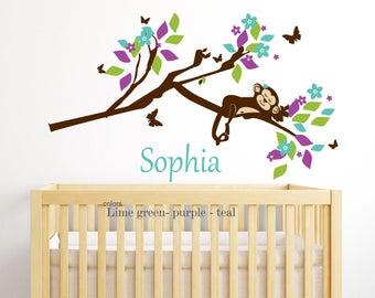 sleeping Monkey Wall Decal -Custom for Katie  Monkey on a tree Custom colors  your name a  wall decal for Nursery, kids room-boy