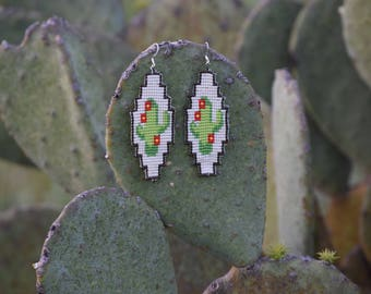 Seed beaded cactus earrings