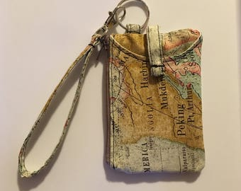Hand Made Wristlet With ID/IPhone 5s and 4s Wallet in Map Print