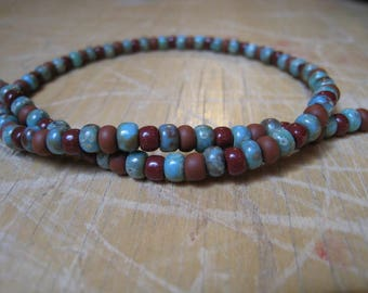 Rust, Brown and Turquoise Glass Seed Bead Wrap Bracelet - Beaded Bracelet - Turquoise Bracelet - Blue Bracelet - Brown Bracelet