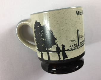 Washington DC Coffee Mug Cup Speckled US Capitol White House Monument Etched