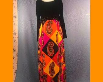 70s Maxi Dress Size Medium