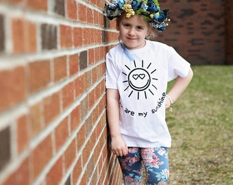 You are my sunshine shirt, positive shirt, cute shirt, happy shirt, kids shirt, sun shirt, sunshine shirt, hearts shirt, love shirt, gift