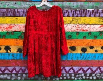 RED crushed velvet mini dress