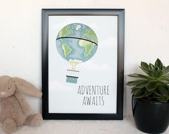 Nursery Wall Art, Typography Art, Adventure Awaits, Inspirational Print, Gift for Baby, Baby Bedroom, Hot Air Balloon, Quirky Wall Art