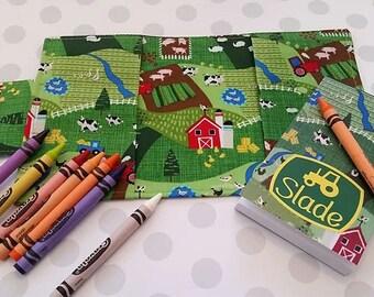 Crayon holder, Crayon wallet, Drawing kit, Farm fabric