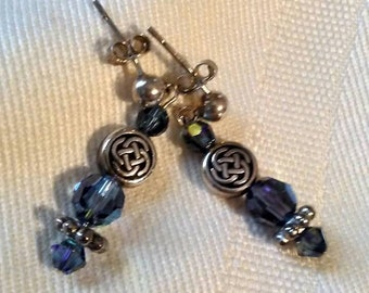 Denim blue and sterling silver post pierced earrings with Celtic knot beads.