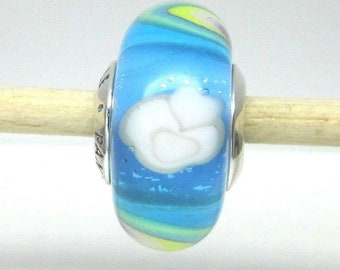 2018-Spring-Blue Murano-Charm IRIDESCENT-RAINBOW-GLASS / New / Threaded / s925 Sterling Silver / Fully Stamped
