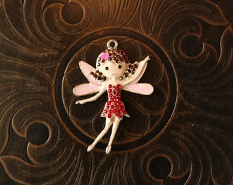 Rhinestone and Enamel Fairy Princess Pendant for Chunky Bubblegum Necklaces
