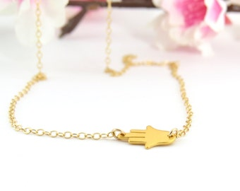 Gold Teeny Tiny Sideways Hamsa Necklace, thin whisper chain, Bridesmaid Necklace, hand charm, Gold Hamsa Necklace, Hamsa Hand, Hamsa Jewelry