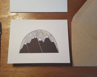 Goodnight Mountains!  Folded notecard