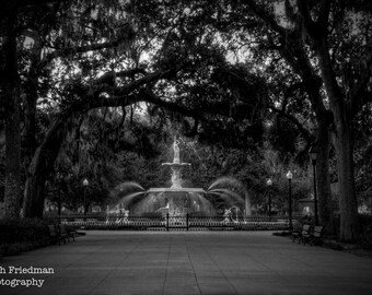 Forsyth Park Fountain, Black and White Photograph, Savannah, Georgia, Oak Trees, Spanish Moss, Historic, Southern, Landscape Photography