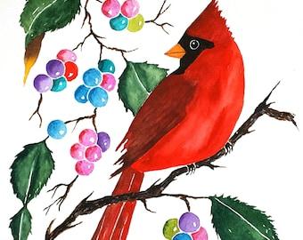 Original Watercolor Painting Birds, Stuffed, Cardinal Painting, Red Bird Painting, Cardinal Art, Red Bird Art, Bird Lovers, Gifts
