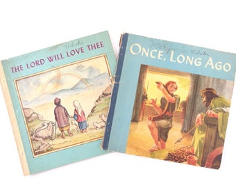Vintage Mid Century Children's Books - Once, Long Ago and The Lord Will Love Thee