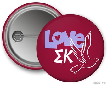 SK Sigma Kappa Love Dove Sorority Greek Button
