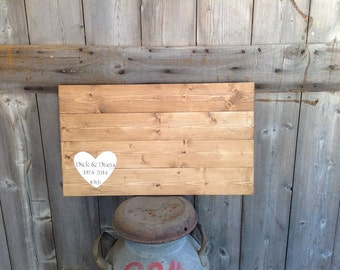 Rustic Wood, Rustic Guest Book, Wood Guest Book, Personalized, Guest book Sign, Guest Book With First names and date Sign measures 18X14