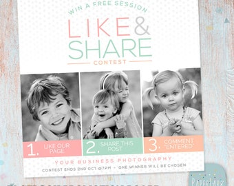 Facebook Like Share Comment Promotion Marketing Board - Photoshop template - IB004 - INSTANT DOWNLOAD