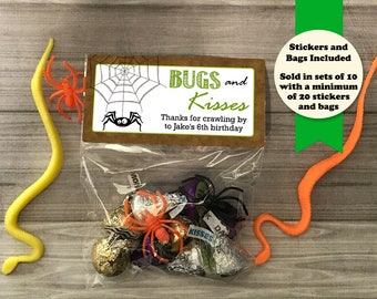 Bugs and Kisses Birthday Treat Bags, Birthday Party Favors, Birthday Party Bags, Spiders and Bugs Party, Boy Birthday Favor, Birthday Favors