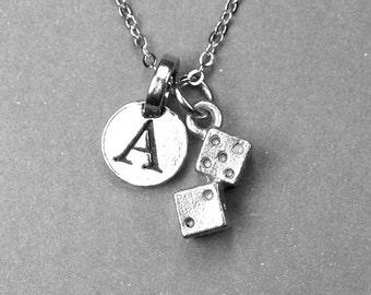 Tiny Pair of Dice Charm Necklace 3D silver plated pewter, initial necklace, initial hand stamped, personalized, monogram