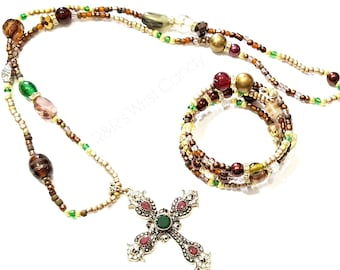 Brown Beaded Necklace, Brown Beaded Coil Wrap Bracelet, Jewelry Set, Boho, Minimalist, Gifts, Custotm, Handmade Beaded Jewelry