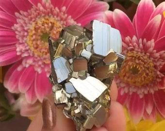 Natural Cubed Pyrite Cluster- with Quartz!