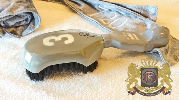 720 WAVE BRUSH:King Scorpion 360 Wave Brush Gift Set Bundle - Platinum Grey & White Reversible Fat Lace Velvet Custom Du-rag