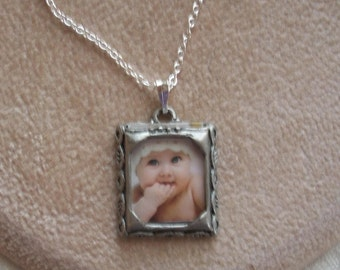 Photograph Charm Necklace, Personalized Photo Neckace, Baby, Dog, Love One, Pet, Sterling Siver Chain