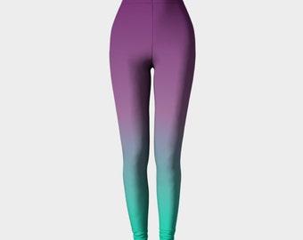 Purple Leggings, Ombre Leggings, Printed Leggings, Mint Leggings, Workout Leggings, Gradient Leggings, Fashion, Lifter, Gym Leggings,