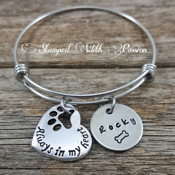 death personalized bracelet jewelry pinterest charm cat memorial loss pet name remembrance pin bangle