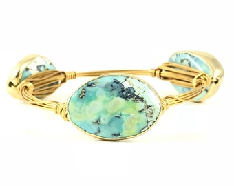 Gold Rimmed Blue Agate Wire Wrapped Bangles - Wire Jewelry - Gemstone - Mother's Day Gift - Stacking Bracelets - Courtney And Courtnie