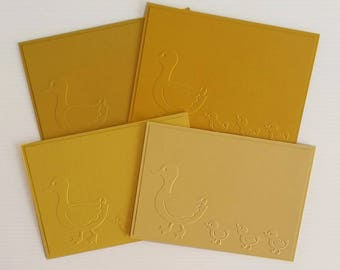 DUCKS Set of 4 Cards, 3 ducks, mother duck, baby card baby shower, for kids, handmade, embossed, shades of yellow, mothers fathers day