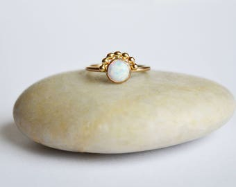 Gold Opal Ring, Dainty Opal RIng, 14KT Gold Fill Opal Ring, Opal Solitaire, October Birthstone