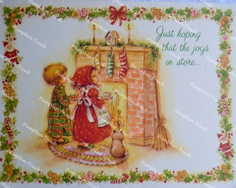 Vintage Christmas Card -  Children and Cat Waiting For Santa at Fireplace - Used