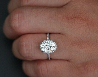 Fine Moissanite Diamond Engagement Ring in 14k White Gold with Forever Classic Moissanite Oval 10x8mm and Diamonds