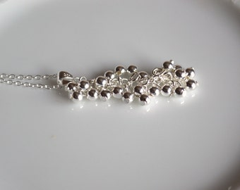Sterling silver cluster necklace, silver ball necklace, sterling silver jewelry