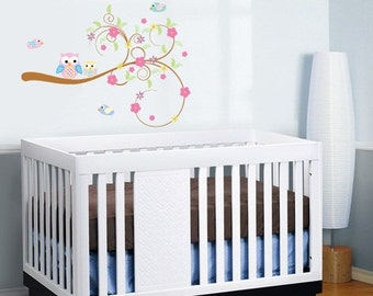 kinder wirbel ast mit bl ttern eulen und v gel herausnehmbares. Black Bedroom Furniture Sets. Home Design Ideas