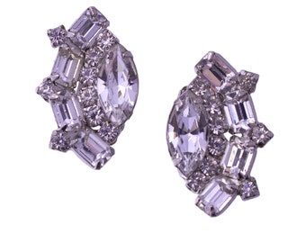 Weiss Marquis Rhinestone Cluster Earrings