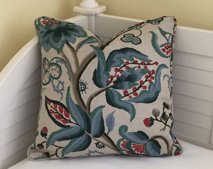 Schumacher Alexandra Vine in Document Designer Pillow Cover With or Without Piping - Square, Lumbar and Euro Sizes