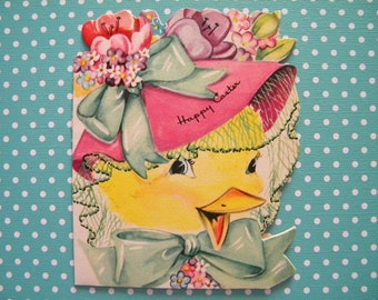 Vintage Easter Greeting Card Duck with Easter Bonnet Signed