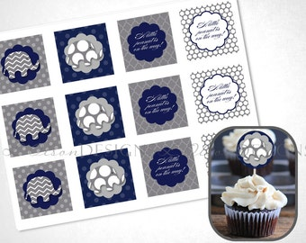 Elephant Cupcake Toppers - Navy - DIY Printable - INSTANT DOWNLOAD