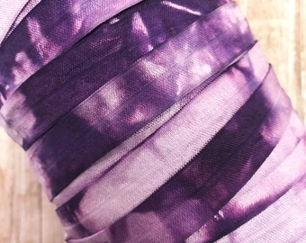 """5/8"""" Hand Dyed Tie Dye Fold Over Elastic -  Lt. Orchid-Purple - Hair Accessory Supplies"""