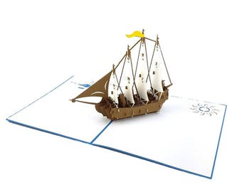 Spanish Galleon Ship (large) 3d pop up card