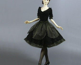 Black & Golden 1/3 BJD Fashion Retro Romantic Dress Outfit, fits Soom, Iplehouse, Feeple, etc.
