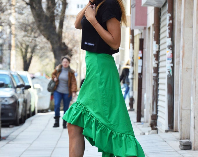 Asymmetric Green Cotton Skirt, Oversize Long Short Skirt, Extravagant High Waisted Skirt, Plus Size Clothing by SSDfasion