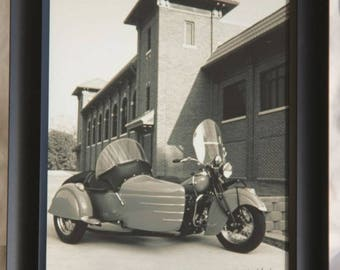 Framed 8x10 inch photo of an old Indian 4-cylinder motorcycle with a side car