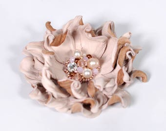 Blush Leather flower brooch, Leather flower, Blush wedding flower, Leather Jewelry, Womens Jewelry, Gift Idea for mother of the bride gift