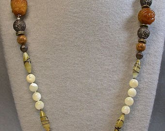 Vintage Serpentine Buddha Knotted Bead Necklace ,Vintage Natural Mother of Pearl Beads,Vintage Ornate Copper Filigree Beads,Brass