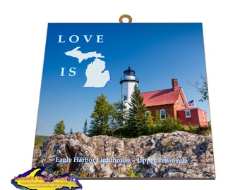Love is Michigan ~ Eagle Harbor Lighthouse  -6533  Michigan's Memes