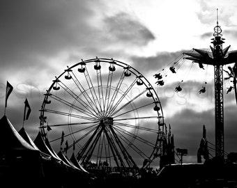 Carnival Photography - Ferris Wheel Photo - Black and White Photography - Dramatic Photo - 8x10 8x8 10x10 11x14 12x12 16x20 - Photography