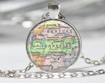 Tennessee Necklace Cutom Map Jewelry Genealogy Necklace Home Necklace Tennessee Jewelry